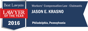 Jason Krasno has earned a Lawyer of the Year award for 2016!