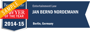 Jan Bernd Nordemann has earned a Lawyer of the Year award for 2014!