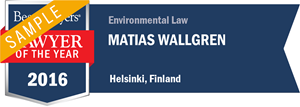 Matias Wallgren has earned a Lawyer of the Year award for 2016!