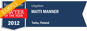 Matti Manner has earned a Lawyer of the Year award for 2012!