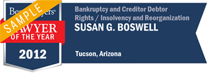Susan G. Boswell has earned a Lawyer of the Year award for 2012!