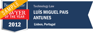Luís Miguel Pais Antunes has earned a Lawyer of the Year award for 2012!