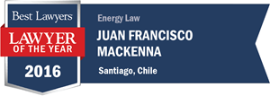 Juan Francisco Mackenna has earned a Lawyer of the Year award for 2016!