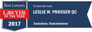 Leslie W. Prosser QC has earned a Lawyer of the Year award for 2017!