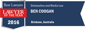 Ben Coogan has earned a Lawyer of the Year award for 2016!