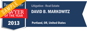 David B. Markowitz has earned a Lawyer of the Year award for 2013!