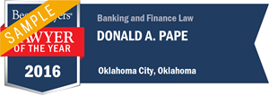 Donald A. Pape has earned a Lawyer of the Year award for 2016!