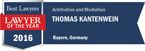Thomas Kantenwein has earned a Lawyer of the Year award for 2016!