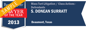 S. Donean Surratt has earned a Lawyer of the Year award for 2013!