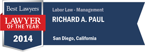 Richard A. Paul has earned a Lawyer of the Year award for 2014!
