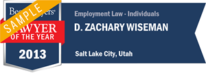 D. Zachary Wiseman has earned a Lawyer of the Year award for 2013!