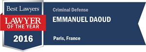 Emmanuel Daoud has earned a Lawyer of the Year award for 2016!