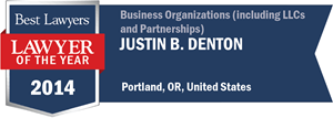 Justin B. Denton has earned a Lawyer of the Year award for 2014!