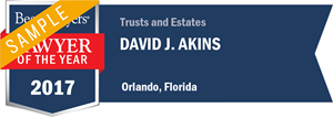 David J. Akins has earned a Lawyer of the Year award for 2017!