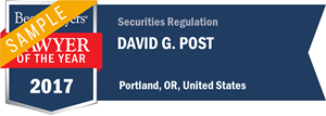 David G. Post has earned a Lawyer of the Year award for 2017!