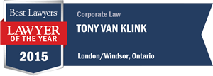 Tony Van Klink has earned a Lawyer of the Year award for 2015!