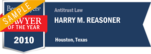 Harry M. Reasoner has earned a Lawyer of the Year award for 2010!