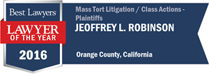 Jeoffrey L. Robinson has earned a Lawyer of the Year award for 2016!
