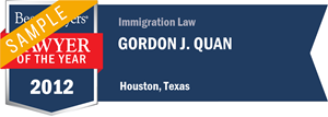 Gordon J. Quan has earned a Lawyer of the Year award for 2012!