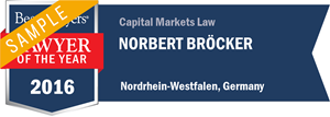 Norbert Bröcker has earned a Lawyer of the Year award for 2016!