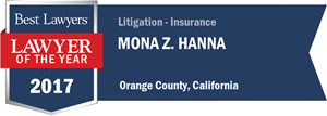 Mona Z. Hanna has earned a Lawyer of the Year award for 2017!