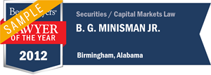 B. G. Minisman Jr. has earned a Lawyer of the Year award for 2012!