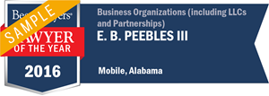 E. B. Peebles III has earned a Lawyer of the Year award for 2016!