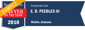 E. B. Peebles III has earned a Lawyer of the Year award for 2010!