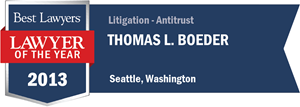 Thomas L. Boeder has earned a Lawyer of the Year award for 2013!