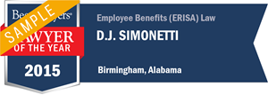 D.J. Simonetti has earned a Lawyer of the Year award for 2015!