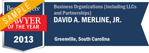 David A. Merline, Jr. has earned a Lawyer of the Year award for 2013!