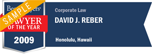 David J. Reber has earned a Lawyer of the Year award for 2009!
