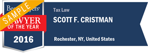 Scott F. Cristman has earned a Lawyer of the Year award for 2016!