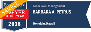 Barbara A. Petrus has earned a Lawyer of the Year award for 2016!