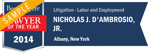 Nicholas J. D'Ambrosio, Jr. has earned a Lawyer of the Year award for 2014!