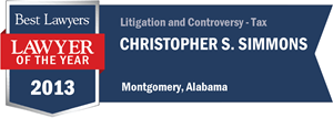 Christopher S. Simmons has earned a Lawyer of the Year award for 2013!