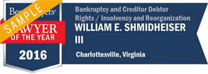 William E. Shmidheiser III has earned a Lawyer of the Year award for 2016!