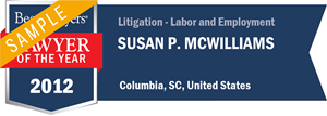 Susan P. McWilliams has earned a Lawyer of the Year award for 2012!