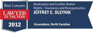 Jeffrey E. Oleynik has earned a Lawyer of the Year award for 2012!