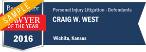 Craig W. West has earned a Lawyer of the Year award for 2016!
