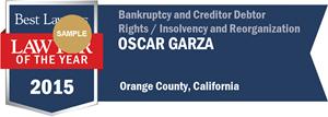 Oscar Garza has earned a Lawyer of the Year award for 2015!