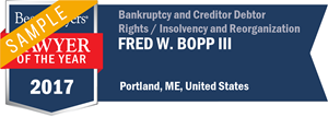 Fred W. Bopp III has earned a Lawyer of the Year award for 2017!