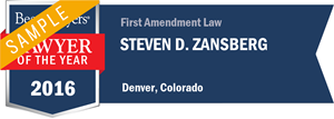 Steven D. Zansberg has earned a Lawyer of the Year award for 2016!