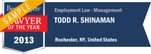 Todd R. Shinaman has earned a Lawyer of the Year award for 2013!