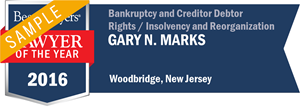 Gary N. Marks has earned a Lawyer of the Year award for 2016!