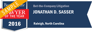 Jonathan D. Sasser has earned a Lawyer of the Year award for 2016!