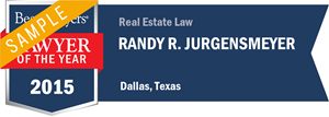 Randy R. Jurgensmeyer has earned a Lawyer of the Year award for 2015!