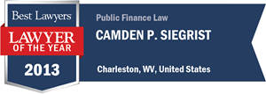 Camden P. Siegrist has earned a Lawyer of the Year award for 2013!