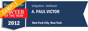 A. Paul Victor has earned a Lawyer of the Year award for 2012!