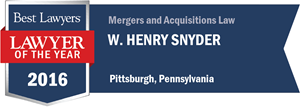 W. Henry Snyder has earned a Lawyer of the Year award for 2016!